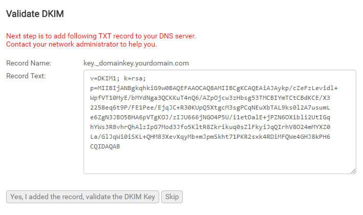 DKIM en Mailpro