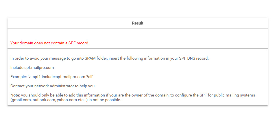 SPF en Mailpro